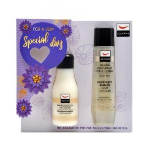 Set Gel de dus Aquolina White Chocolate, Femei, 125 ml + Deodorant spray 150ml